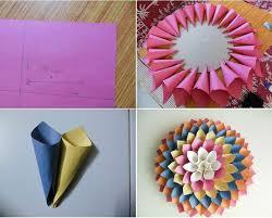 Membuat Hiasan Bunga Dari Kertas Lipat | cara membuat hiasan dinding berbentuk bunga dari kertas dekor