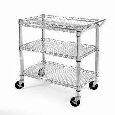 Industrial Kitchen Cart by Seville Classics 3 Shelf Ultra Zinc Heavy Duty Commercial Utility