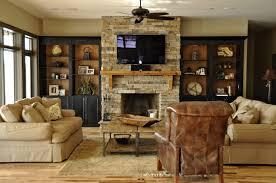 Living Room Built In Living Top Stone Around Fireplace On Interior With Bookcases Built In