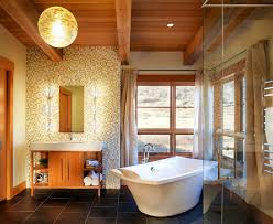 Houzz Rustic Bathrooms - fabulous hanging lamp above dark floortile in rustic bathroom