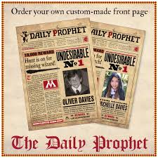 printable harry potter daily prophet front custom