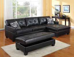 captivating black tufted leather couch with cozy padded cushion