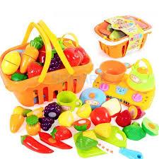 fruit and vegetable basket shopping fruit vegetable basket supermarket kids pretend