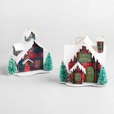 paper plaid house led ornaments set of 2 world market