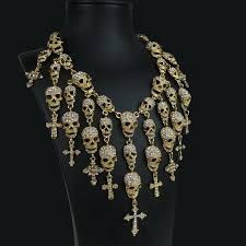 gold statement necklace jewelry images Skulls and crosses statement necklace fantasy jewelry goth wedding jpg