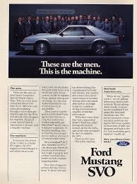 ford mustang ads 1984 ford mustang svo advertisement 1979 1993 team mustang