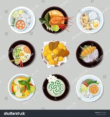 thai food icons set shrimp traditional stock vector 343196297