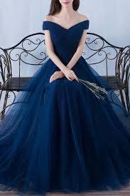 dark blue tulle organza off shoulder a line long prom dresses