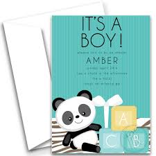 Panda Baby Shower Invitations - its a boy chic blue baby panda bear baby shower invitation