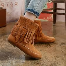 womens size 12 fringe boots fashion flat fringe faux suede ankle boots booties oxfords