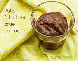 recette cuisine crue pâte à tartiner crue au cacao cru cuisine saine sans gluten