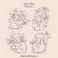 characters sketches of santa claus vector free download