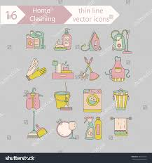 house cleaning color thin line vector stock vector 585843224
