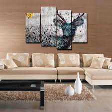 art painting for home decoration 4pcs abstract deer wall art canvas printing for home decoration