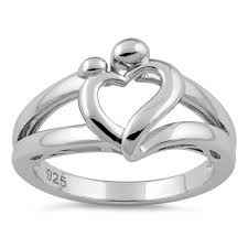 sterling silver mothers rings sterling silver and child heart ring for sale silver