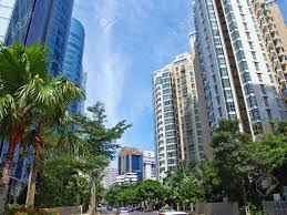 apartments and condominiums of singapore residential skyline stock