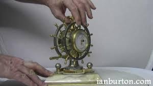 Nautical Desk Clock Antique Gilt And Silvered Bronze Nautical Desk Clock Compendium