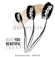 makeup artist equipment make you beautiful today text toothbrush stock vector 694077346