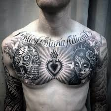black and white guys sugar skull on chest tattoos
