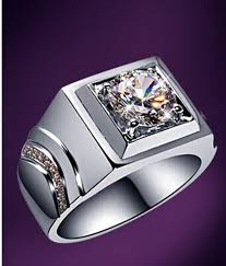 men s ring generous rings for men sterling silver 1carat synthetic diamonds