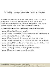 electrician resume format download top8highvoltageelectricianresumesamples 150530085822 lva1 app6892 thumbnail 4 jpg cb 1432976356
