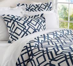 geo blue and white duvet sham