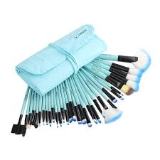 32pcs pro excellent vander blue lb makeup brush set kit pouch