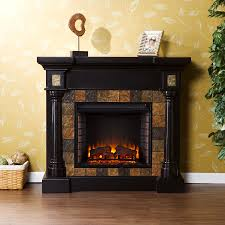 faux slate convertible electric fireplace blac