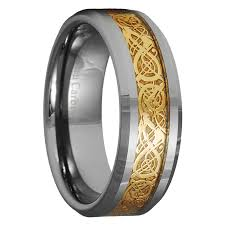 gold wedding band mens tungsten carbide celtic ring mens jewelry wedding band silver size