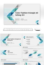 Awesome Color Fashion Triangle Simple Splicing Art Business Ppt Sle Ppt Templates