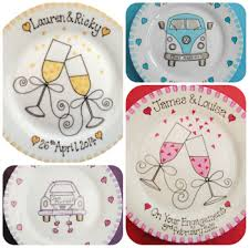 wedding plate personalised wedding gift painted plate just married present