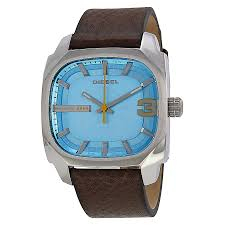 diesel shifter blue dial brown leather men u0027s watch dz1654 diesel