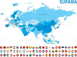 Eurasia Map Blue Map Of Eurasia With Flag Against White Background Stock