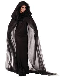 2017 black haunted cape ghost dark witch halloween costume for