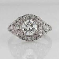 antique platinum art deco diamond engagement ring round ebay