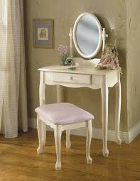 Oak Vanity Table Varnished White Oak Wood Dressing Table With Jewelry Armoire Of