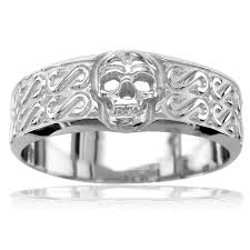 mens skull wedding rings mens wide skull wedding band ring with s pattern in sterling