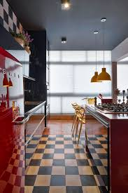 Black And Red Kitchen Ideas Apartments Recessed Lights In Fascinating Open Plan Apartment