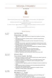 sample of call center agent resume