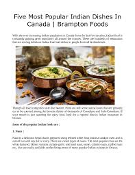 most popular cuisines five most popular indian dishes in canada