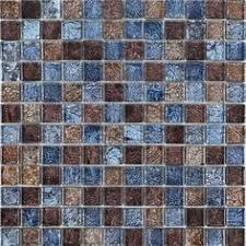 I ABSOLUTELY WANT THIS TILE Brown Cream And Blueglass Mosaic - Brown tile backsplash