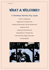 what a welcome nativity playscript by louisacarol