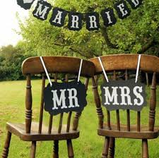 Wedding Chair Signs Amazon Com Mr And Mrs Photo Props Mr And Mrs Chair Signs
