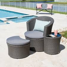 outdoor grey synthetic rattan lounge chair ottoman side table