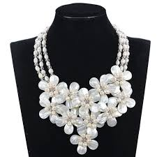 chunky pearl statement necklace images Buy fabulous shell flower bib wedding pearl jpg
