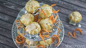 gluten free friday carrot cake muffins with lemon ginger glaze