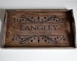 personalized trays rustic wooden tray etsy