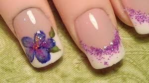 french tip w purple hibiscus nail art design tutorial youtube