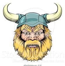 vector illustration of a cartoon tough blond male viking warrior