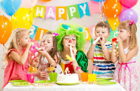 two cheerful clowns birthday children bright stock photo kids and clown celebrate birthday party stock photo image of
